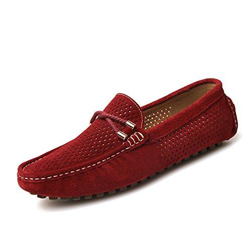 Esthesis Hommes Chaussures d'été Respirant Penny Mocassins Suede Slip en Cuir sur Les Chaussures Bateau Rouge ixqNZkT