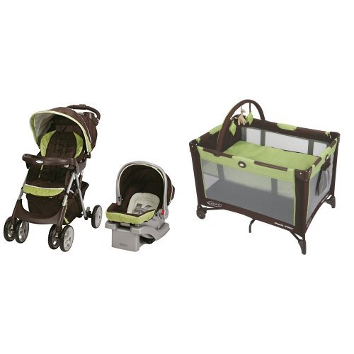Graco Comfy Cruiser Click Connect Travel System and Pack 'n Play On The Go Playard, Go Green by Graco