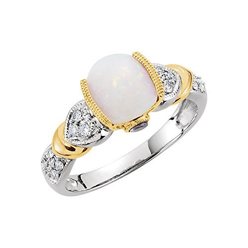 - Jewels By Lux 14K Yellow and White Two Tone Gold Opal Tanzanite & 1/6 CTW Diamond Ring Size 7