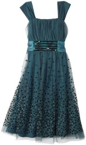 Bonnie Jean Big Girls' Dress With Glitter Dots On Skirt, Teal, 7