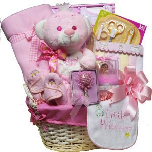 Sweet Baby Special Delivery Gift Basket with Teddy Bear, Pink Girls