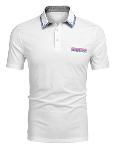 COOFANDY Mens Classic Polo Shirt Short Sleeve Contrast Collared Golf Tennis T Shirts Tops