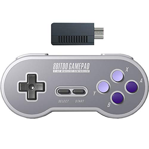 Super Receiver - 8Bitdo SN30 2.4G Wireless Gamepad Controller with Retro Wireless Receiver Adapter for SNES and SFC Classic Edition