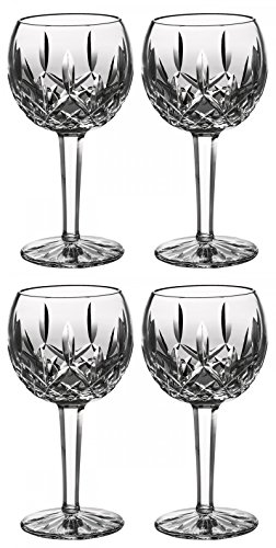 Waterford Crystal Lismore Balloon Wine Glasses, #6233181700, 8 Oz Set of 4 Pieces by Waterford Crystal Lismore