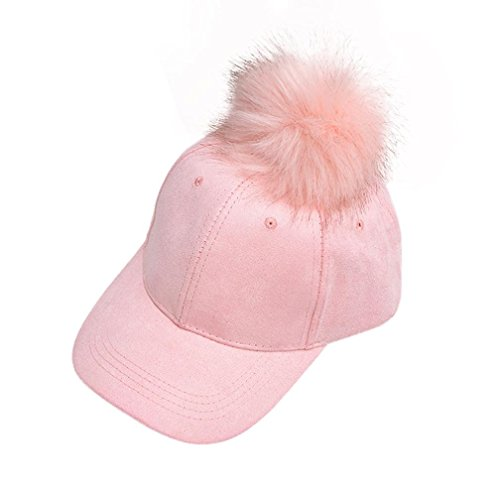 Start Women's Girls Fur Ball Hip Hop Hat Casual Baseball Cap (pink)