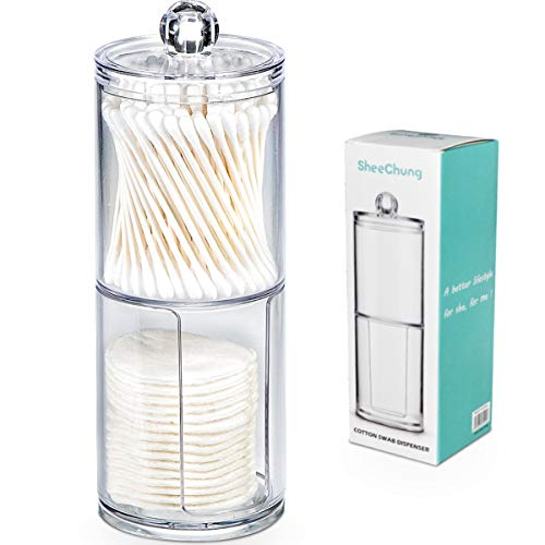SheeChung Qtip Holder Dispenser Set - Apothecary Jars Bathroom Clear Plastic Acrylic for Cotton Balls,Cotton Swabs,Q-Tips,Cotton Rounds,Makeup Pads Storage Canister