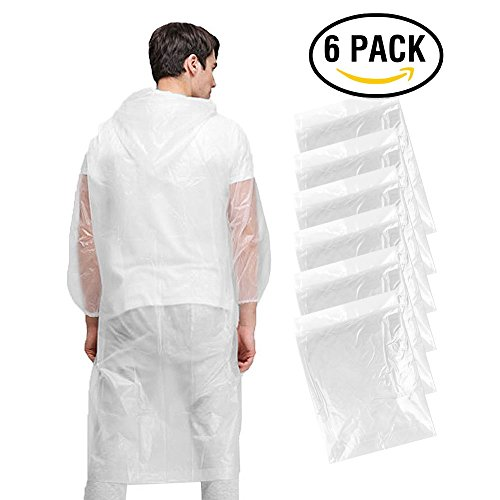 Disposable Poncho, KKtick Emergency Rain Poncho for Men Women Super Waterproof for Rainy Outdoor ( One Size Fit All ) - 6 Pack
