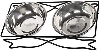 ペットボールキャットボウルキャットライスボウル犬用食器棚キャットフード用ボウルドッグフード用ボウルステンレススチール製ボウルステンレススチール製フレームダブルボウル (サイズ さいず : 31*14.5*6.5cm)