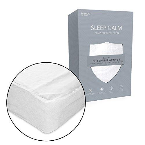 Sleep Calm Nonwoven Zippered Box Spring Encasement with Bed