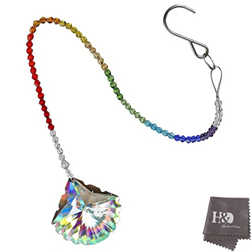 (H&D 63mm Colorful Crystal Seashell Prism Hanging Chandelier Prisms Garland Wedding Strand with Pendant 21-Inches Long)