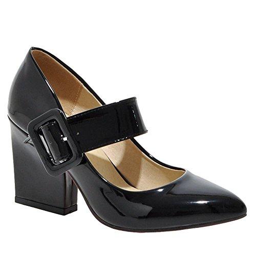 Mee Shoes Damen chunky heels Lackleder Schnalle Pumps