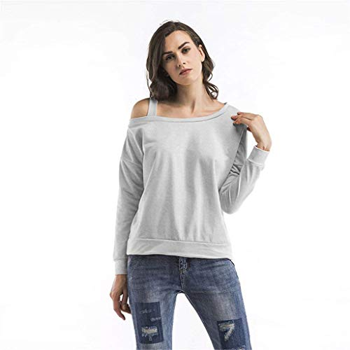 Hombro Suelta Grau Manga Sudadera Larga Casual Tops Blusa Mode De Ladies Off Fit q7OwxzY6