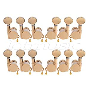 electric acoustic guitar string tuning pegs keys tuners machine heads 3x3 gold 2 set. Black Bedroom Furniture Sets. Home Design Ideas