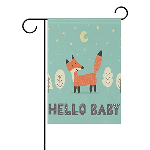 La Random Hello Baby Fox Garden Flags Flag Banner Polyester 28×40 Inches Welcome Flag Double Sided Print Holiday Garden Flag