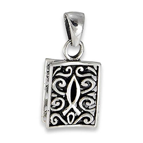 Filigree Icthus Pendant .925 Sterling Silver Ornate Religious Scroll Fish Charm Vintage Crafting Pendant Jewelry Making Supplies - DIY for Necklace Bracelet Accessories by CharmingSS