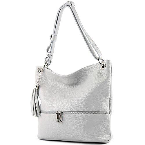 cuir sac sac cuir en ital d'épaule sac de épaule modamoda dames Grau T143 en Ww6qY7nv