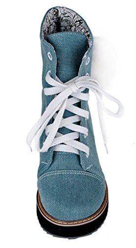 YE Shoes Damen Wedges Keilabsatz Plateau Denim Stiefeletten
