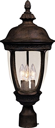 Maxim 3461CDSE Knob Hill Cast 3-Light Outdoor Pole/Post Lantern, Sienna Finish, Seedy Glass, CA Incandescent Incandescent Bulb , 60W Max., Dry Safety Rating, Standard Dimmable, Frosted Glass Shade Material, Rated Lumens For Sale