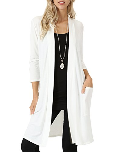NE PEOPLE Womens Basic 3/4 Sleeve Open Front Cardigan with Pockets S-3XL for $<!--$15.45-->