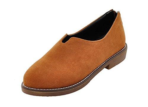 VogueZone009 Women's Xi Shi Velvet Low-Heels Solid Pumps-Shoes Yellow 7XIz8s