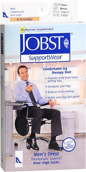 Jobst Supportwear - Jobst Supportwear Mens Dress Socks, 8-15 mm/Hg Compression Black color Medium 1 each by Bsn-Jobst (Pack of 2)