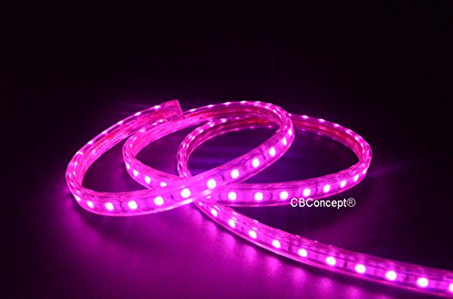 CBConcept UL Listed, 120 Feet,Super Bright 32850 Lumen, Pink, Dimmable, 110-120V AC Flexible Flat LED Strip Rope Light, 2190 Units 5050 SMD LEDs, Waterproof IP65, Accessories Included, Size: 0.57 Inch Width X 0.33 Inch Thickness- [Christmas Lighting, Indo by CBconcept