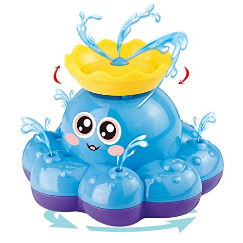 Bath Toy, Spray Water Octopus (Ramdom Colour), Can Float Rotate with Fountain, Funcorn Toys Floating Bathtub Shower Pool Bathroom Toy for Baby Toddler Infant Kid Party, Water Pump Electronic Sprayer