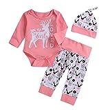 3Pcs Valentine's Day Toddler Infant Baby Girl Boy Deer Letter Print Long Sleeve Top Romper Pants Hat Outfits Set (Pink, 3-6Months)
