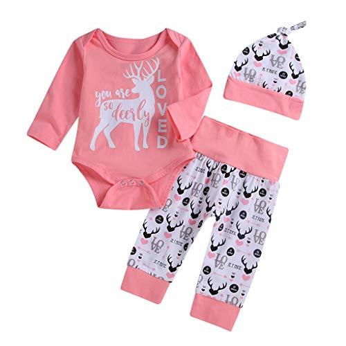 3Pcs Valentine's Day Toddler Infant Baby Girl Boy Deer Letter Print Long Sleeve Top Romper Pants Hat Outfits Set (Pink, 3-6Months) -