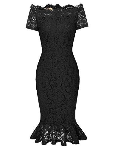 Flower Elegant (Womens Elegant Flower Lace Party Mermaid Bodycon Sheath Dress M Black)