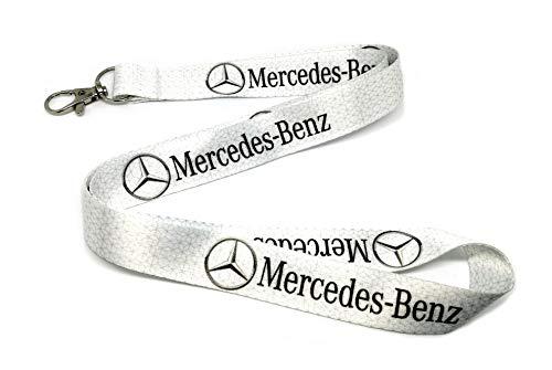 MERCEDES BENZ AMG A45 E63 C63 CLK CLA SLK CL SL E-CLASS C-CLASS white lanyard neck strap ID holder keyring key fob