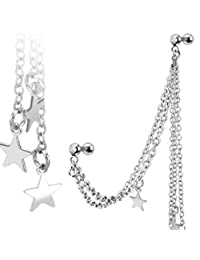 BodyJ4You Chain Earring Stone ,Steel Ear Chains with Straight Barbell, Steel Cartilage Earring