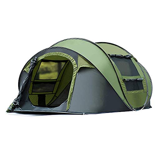 AYAMAYA 3-4 Person Instant Pop Up Waterproof Camping Tent, Easy Set Up Ventilated [2 Door] [Mesh Window] Waterproof 4 Season Big Family Privacy Dome Tent Shelter for Backpacking Picnic Travel