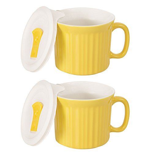CorningWare Colours Pop-Ins 20-oz Soup Mug Vented Lid - 2 Pack (Curry) (With 20 Soup Handle Oz Mugs)