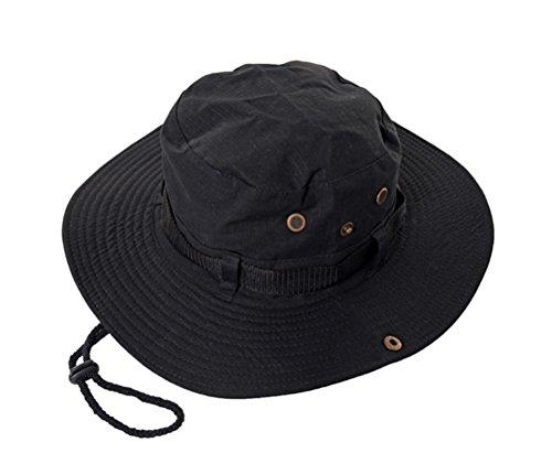 GAMT Outdoor Rain Hats Folding Waterproof Hat UV Protection Bucket Cap Black