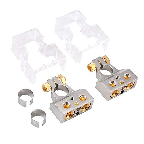 AUTOUTLET Car Battery Terminal Connectors Kit 2PCS 0/4/8/10 Gauge AWG Car Battery Terminal Connectors with Spacer Shims,Positive Negative Chrome Battery Terminals(with Clear Covers)