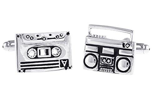 Tape Recorder Cufflinks Cassette Cuff-links with Velvet Gift Box