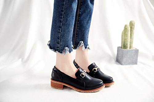 Retro Dandanjie Size Fashion Nero Large Shoes Autunno Mocassini Womens Metal Buckle HHrqwSta