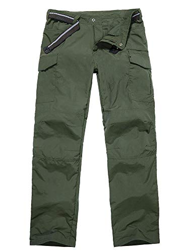 Toomett Men's Outdoor Quick-Dry Lightweight Waterproof Hiking Mountain Pants,6046,Army Green, ()