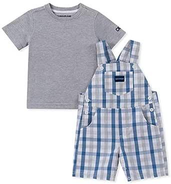 Calvin Klein Baby Boys 2 Pieces Shortall, Blue/Gray, 12M