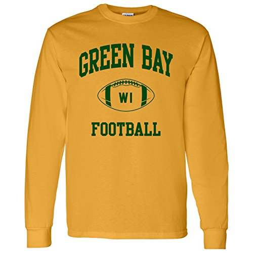 Green Bay Classic Football Arch American Football Team Long Sleeve T Shirt - Small - Gold