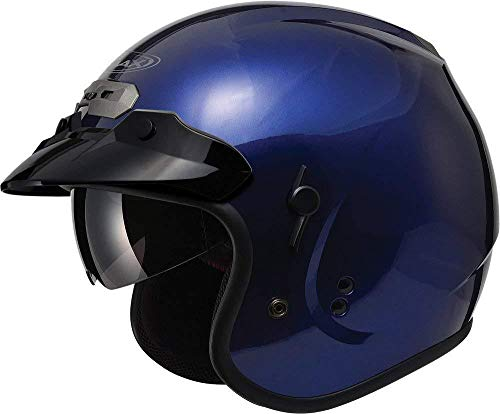 - GMAX GM32 Unisex-Adult Open Face Motorcycle Street Helmet with Flip-Down Sun Shield (Blue, Small)