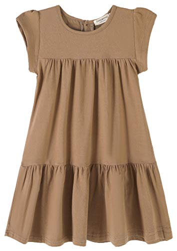 Youwon Toddler Girls Dress Short Sleeve Solid Color Tunic A-Line Tiered Swing Dress 2-6 7-16 Coffee