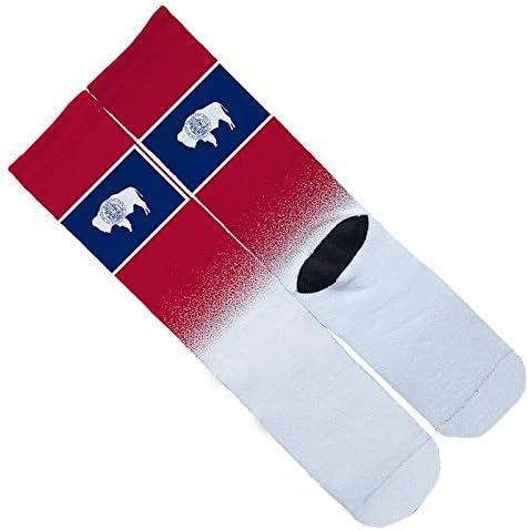 Memo Apparel Wyoming State Flag Splash Socks One Size 6-12 Multi Crew Elite