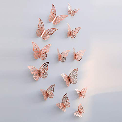 (36Pcs Wall Decal 3D Imitation Metal Simulation Butterfly Art Wall Sticker,DIY Removable Decorative Paper Murals for Home,Bathroom,Living Room,Kids/Girls Bedroom,Nursery,Party Décor ((36pcs Rose Gold))