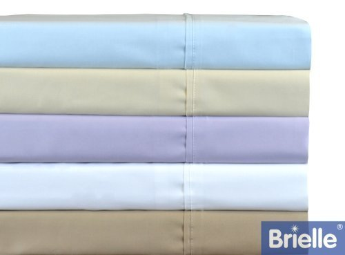 Brielle Ultra Light 380-Thread Count Pure Cotton Sateen Sheet Set, King, Dusty Purple ()