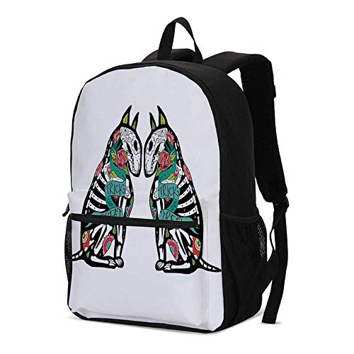 Halloween Decorations Fashional Backpack,Skeleton Demon Figures Flowers and Trick or Treat Quote Ethnic Design for School Travel,12.2