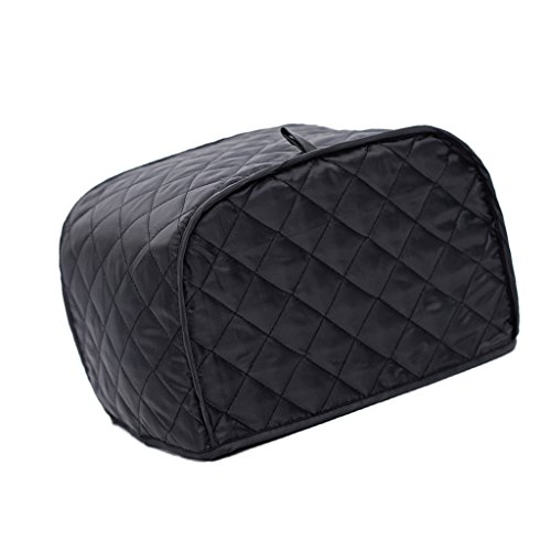 Dovewill Grid Pattern Bread Toaster Dust Cover Bakeware Protector Two/Four Slices - Black, 2 Slice