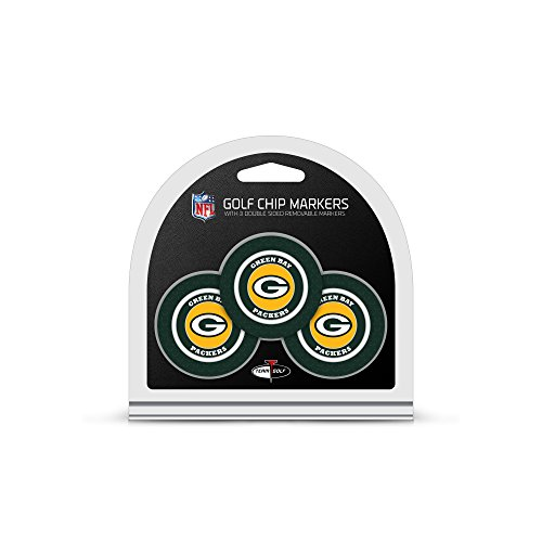 Team Golf NFL Green Bay Packers Golf Chip Ball Markers (3 Count), Poker Chip Size with Pop Out Smaller Double-Sided Enamel ()