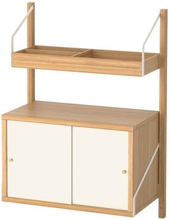 IKEA pared combinación de almacenamiento, bambú, blanco ...